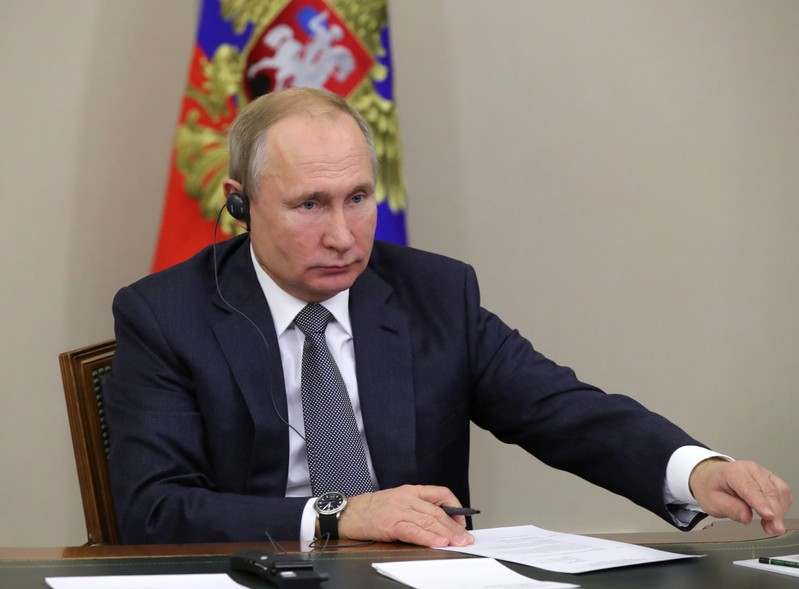Russia's President Vladimir Putin takes part in a ceremony launching Gazprom's Power of Siberia gas pipeline to China via a video link in Sochi