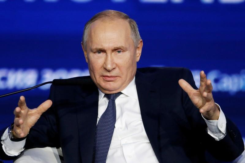 FILE PHOTO: Russian President Vladimir Putin speaks during an annual VTB Capital