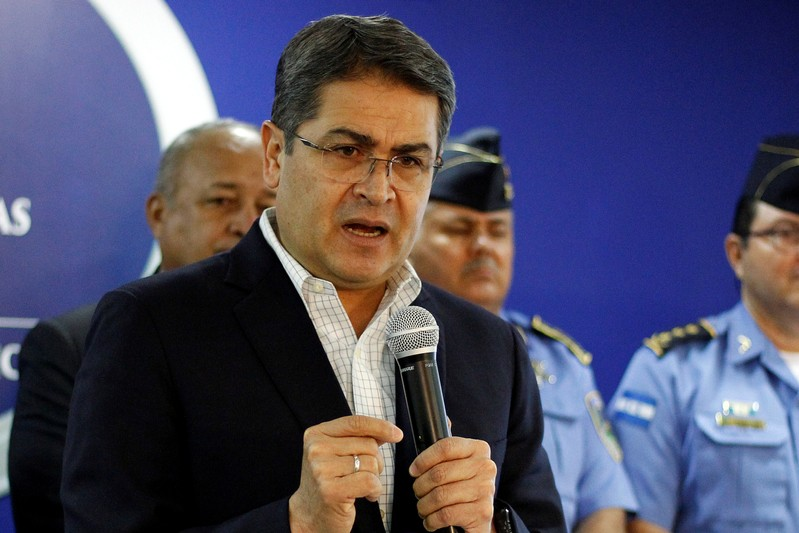 FILE PHOTO: Honduras' President Juan Orlando Hernandez speaks during a news conference at the Presidential House in Tegucigalpa
