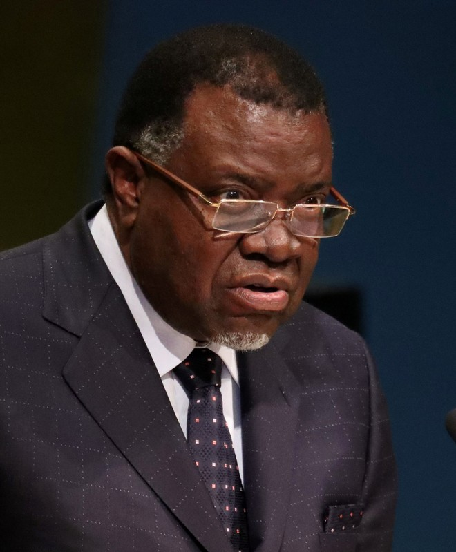 FILE PHOTO: President Hage Geingob of Namibia addresses the United Nations General Assembly in New York