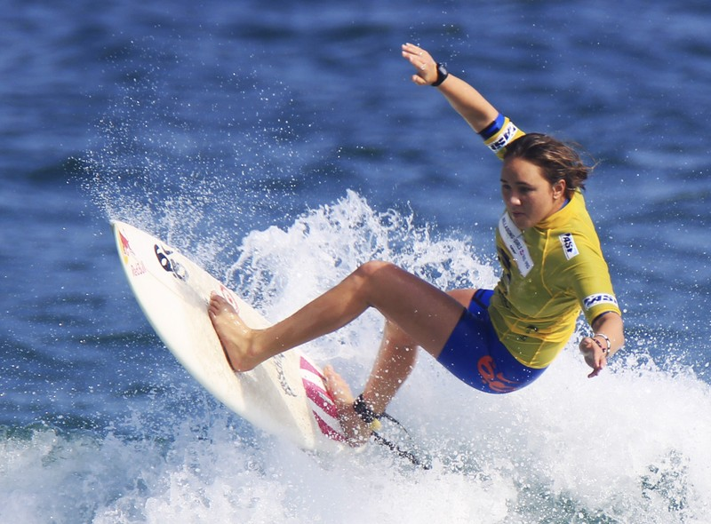 Moore of Hawaii surfs during the semi-final for the women's ASP Billabong Rio Pro championships on Barra da Tijuca beach