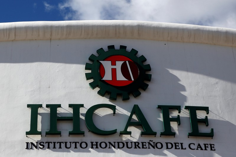 The logo of the Honduran Coffee Institute is pictured at its building in Tegucigalpa