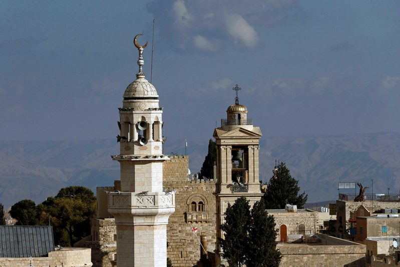 View shows a mosque minaret and the Church of the Nativity in Bethlehem in the Israeli-occupied West Bank