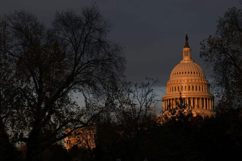 FILE PHOTO: The U.S. Capitol building is pictured at sunset on Capitol Hill in Washington
