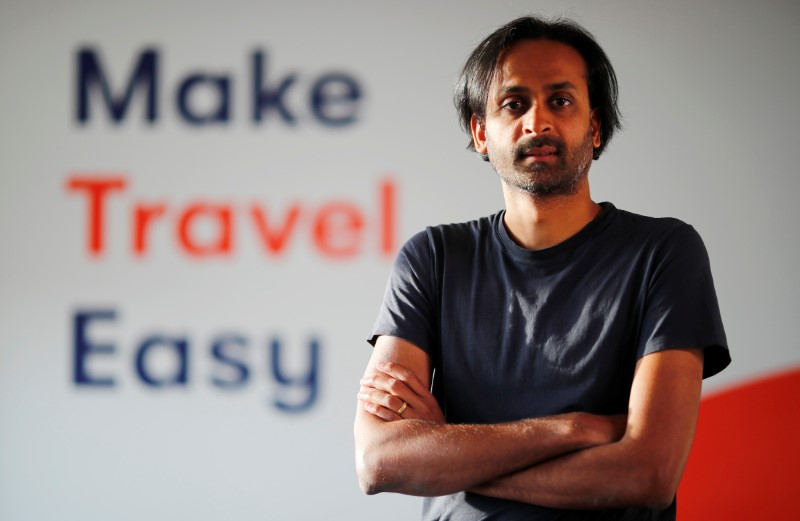 Naren Shaam, the founder-CEO mobility app Omio, is pictured before a Reuters interview in Berlin