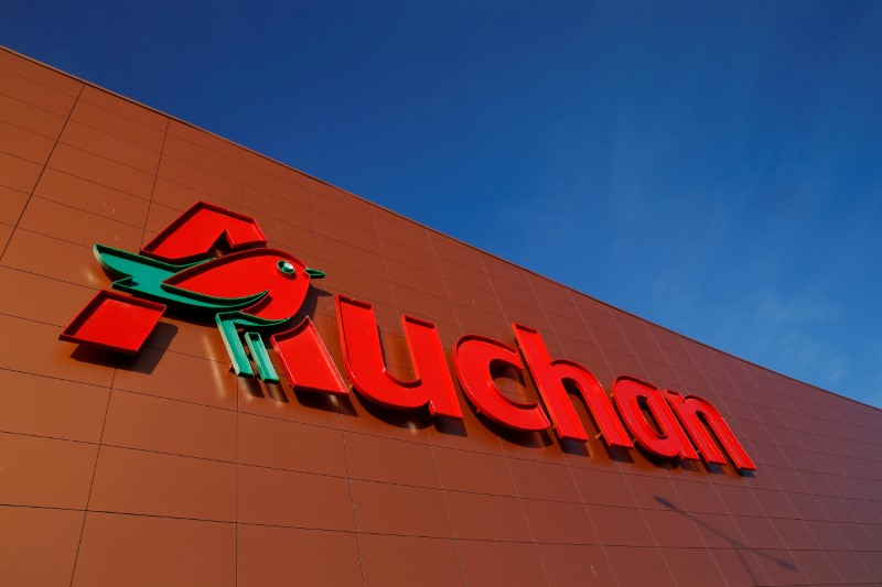 FILE PHOTO: The logo of Auchan is seen on the wall of an Auchan supermarket in Noyelles-Godault