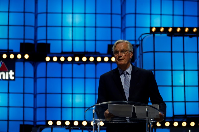 The European Commission Brexit chief negotiator Michel Barnier speaks during the Web Summit in Lisbon
