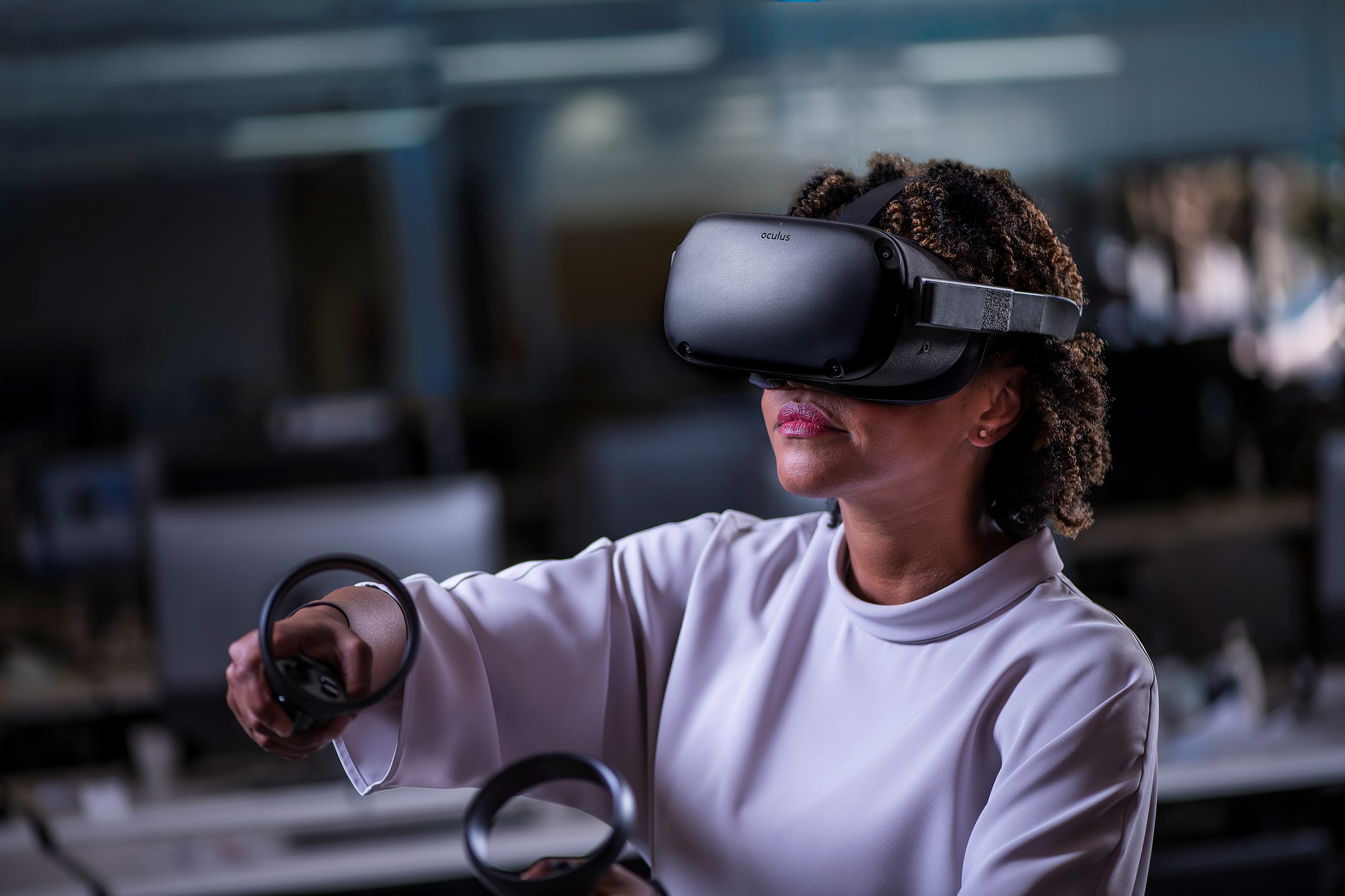 Oculus Quest all-in-one VR device is shown in an undated photo