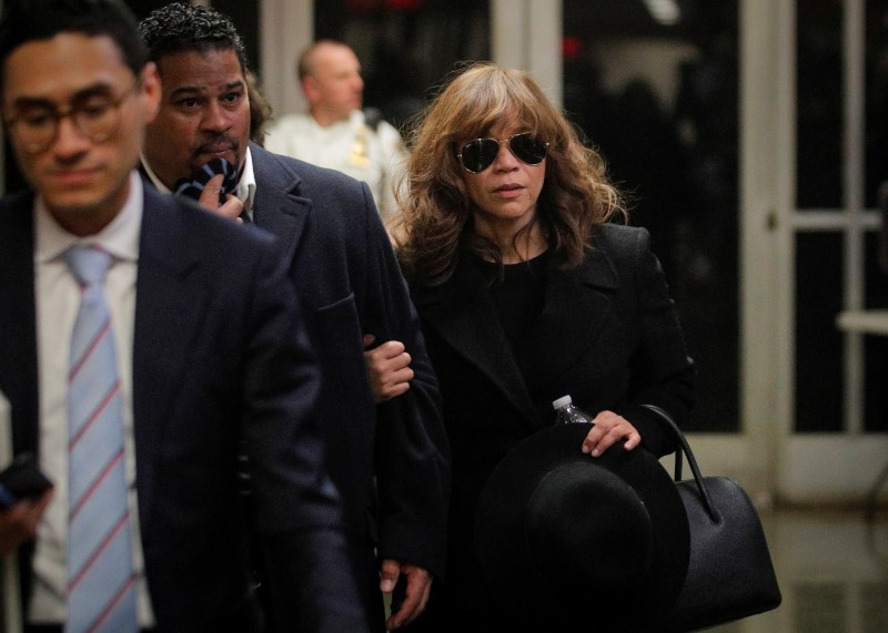 Actor Rosie Perez exits after testifying during film producer Harvey Weinstein's sexual assault trial at New York Criminal Court in the Manhattan borough of New York
