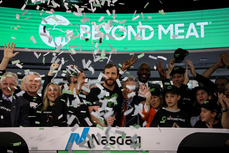 Ethan Brown, founder and CEO of Beyond Meat, and guests ring the opening bell to celebrate his company's IPO at the Nasdaq Market site in New York