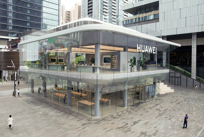 FILE PHOTO: A general view of Huawei's first global flagship store, in Shenzhen