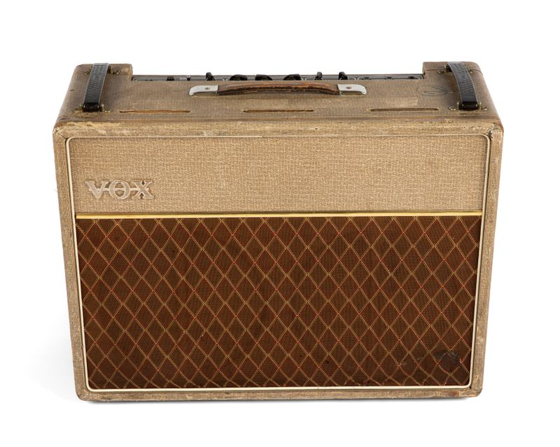A 1962 Vox AC30 amplifier, owned by former Rolling Stones bass guitarist Bill Wyman, is seen in an undated photo