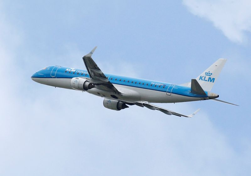 A KLM commercial passenger jet  takes off in Blagnac near Toulouse
