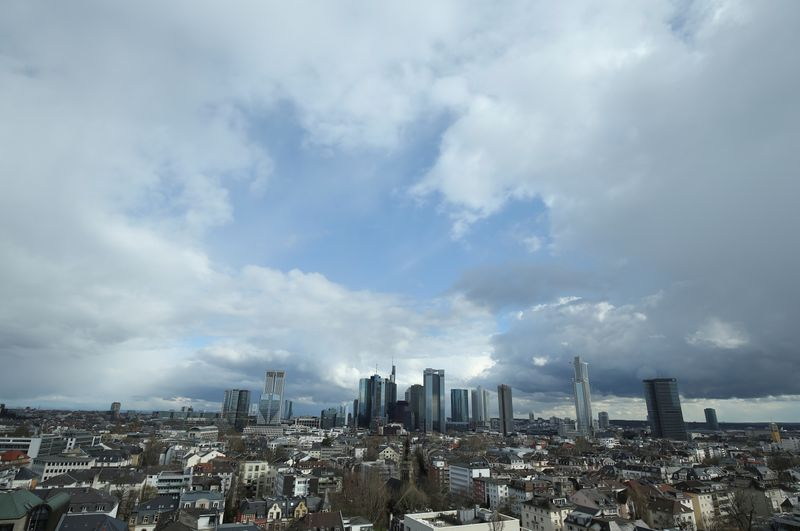 The financial district with Germany's Deutsche Bank and Commerzbank is pictured in Frankfurt