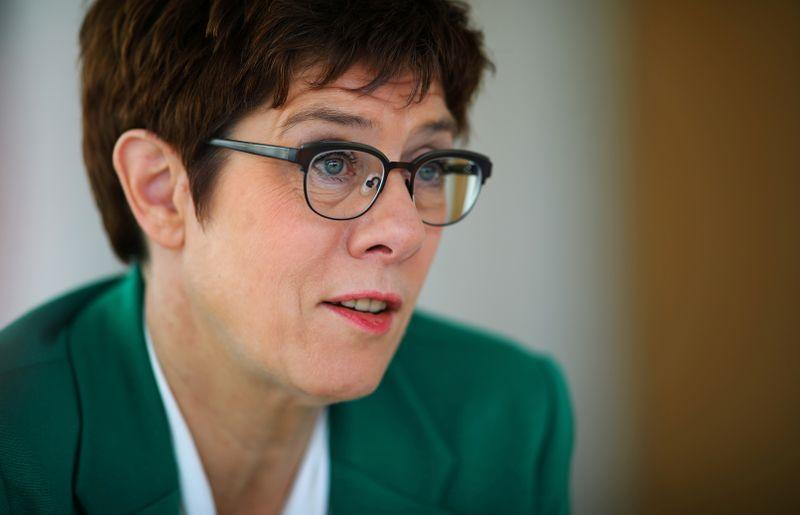 FILE PHOTO: CDU leader Kramp-Karrenbauer attends a Reuters interview in Berlin