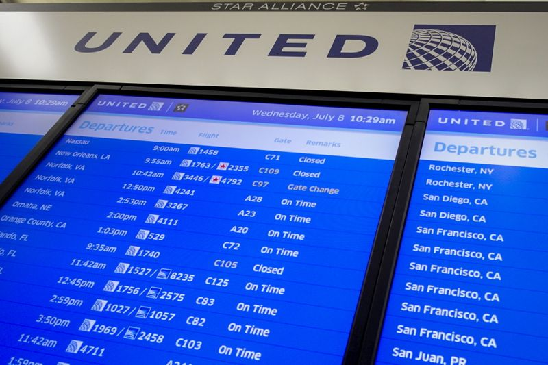 The United Airlines timetable is pictured in Newark International Airport, New Jersey