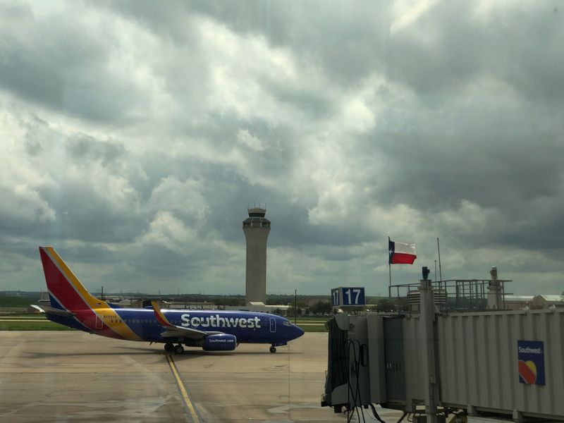 A Southwest airplane sits on the tarmac in Austin