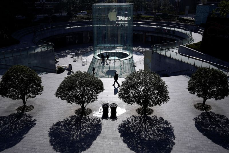 A closed Apple store is seen as the country is hit by an outbreak of the novel coronavirus, in Shanghai