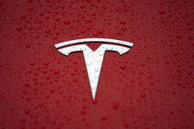 FILE PHOTO: A Tesla logo is seen at a groundbreaking ceremony of Tesla Shanghai Gigafactory in Shanghai