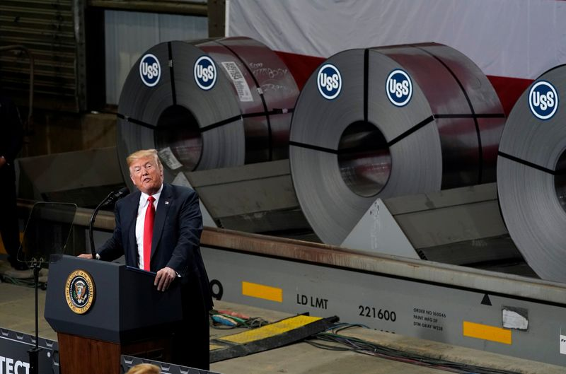 U.S. President Trump speaks about trade at the Granite City Works steel coil warehouse in Granite City, Illinois