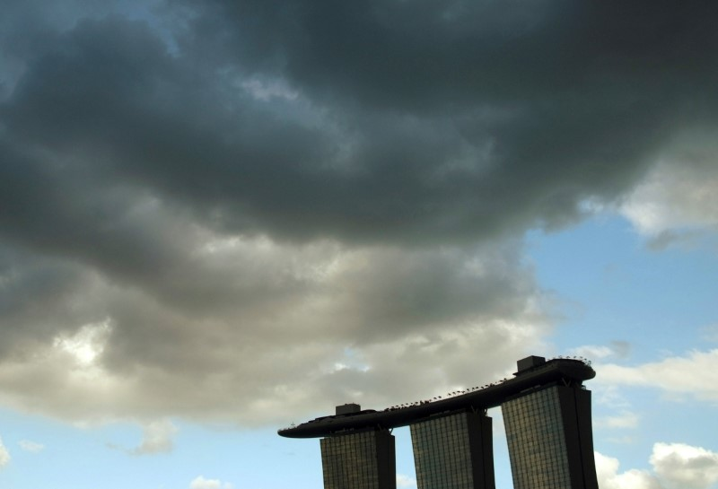 Clouds are seen above the Marina Bay Sands resort in Singapore