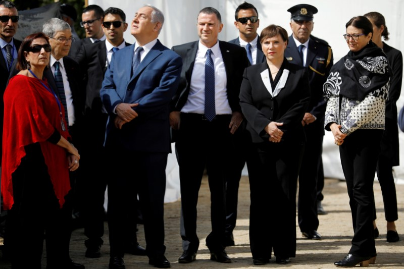 FILE PHOTO: Israeli Prime Minister Benjamin Netanyahu and Israeli Knesset Speaker Yuli Edelstein attend a ceremony marking the annual Israeli Holocaust Remembrance Day at the Yad Vashem World Holocaust Remembrance Center in Jerusalem