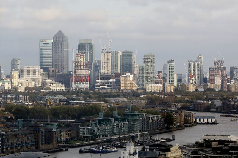 General view of Canary Wharf financial district in London