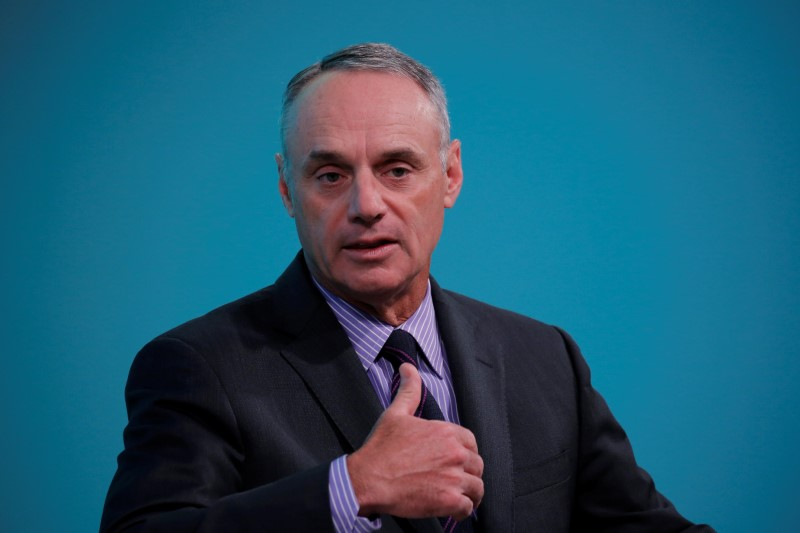 Rob Manfred, commissioner of Major League Baseball, takes part in the Yahoo Finance All Markets Summit in New York
