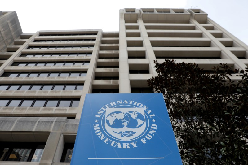 FILE PHOTO: The International Monetary Fund (IMF) headquarters building is seen ahead of the IMF/World Bank spring meetings in Washington