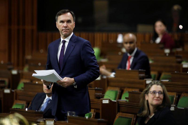 Canada's Minister of Finance Bill Morneau speaks in the House of Commons as legislators convene at the House of Commons in Ottawa