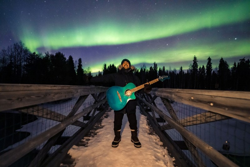 Peruvian musician Victor Alarcon shoots a music video in the Finnish Arctic for his single called 'Aurora Boreal' (Northern Lights) near Rovaniemi
