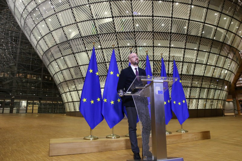 EU Council President Charles Michel holds a news conference after a videoconference with EU heads of state to discuss coronavirus disease (COVID-19) measures, in Brussels