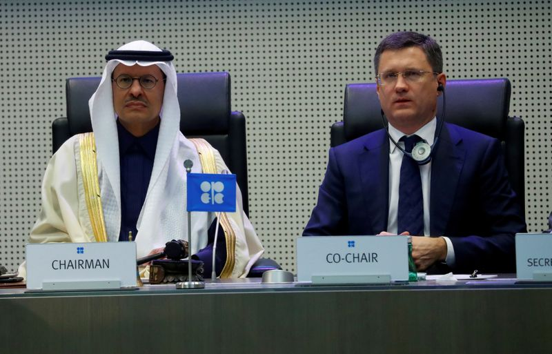 FILE PHOTO: Saudi Arabia's Minister of Energy Prince Abdulaziz bin Salman Al-Saud and Russia's Energy Minister Novak are seen at the beginning of a meeting in Vienna