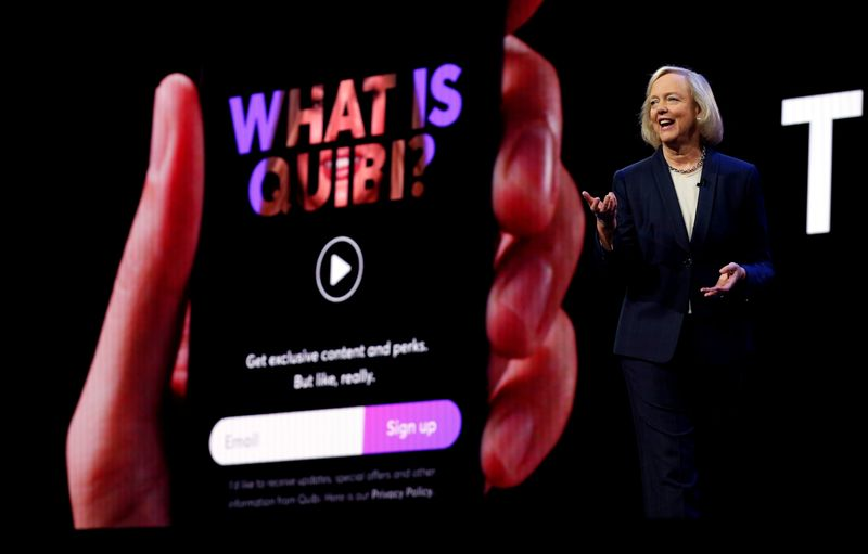 FILE PHOTO: Quibi CEO Meg Whitman speaks during a Quibi keynote address at the 2020 CES in Las Vegas