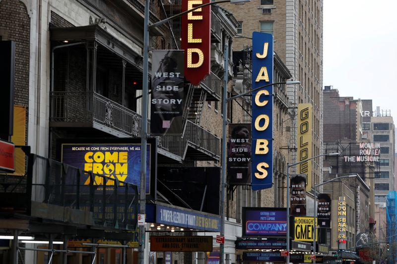 Theatres are seen along West 45th Street as Broadway shows announced they will cancel performances due to the coronavirus outbreak in Manhattan, New York City