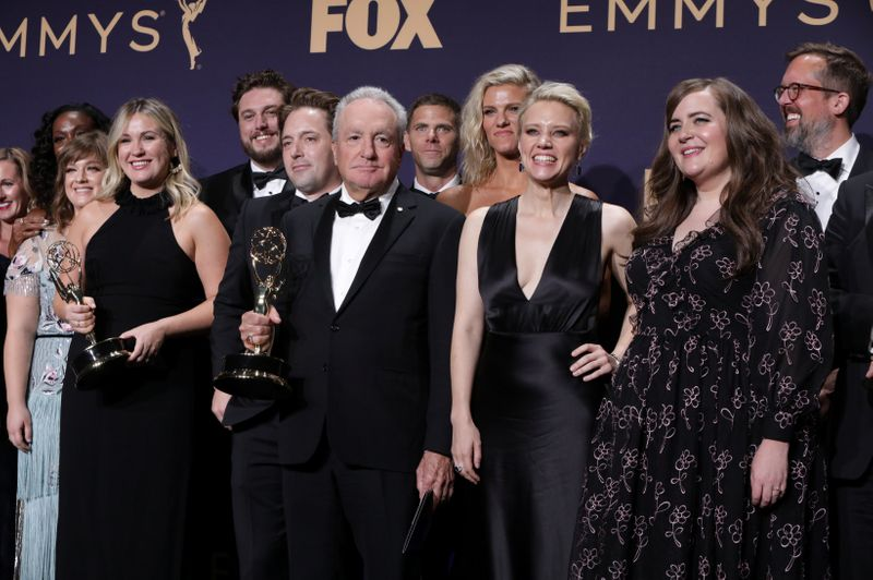 FILE PHOTO: 71st Primetime Emmy Awards - Photo Room – Los Angeles, California, U.S., September 22, 2019 - The cast of Saturday Night Live poses backstage with their award for Outstanding Variety Sketch Series