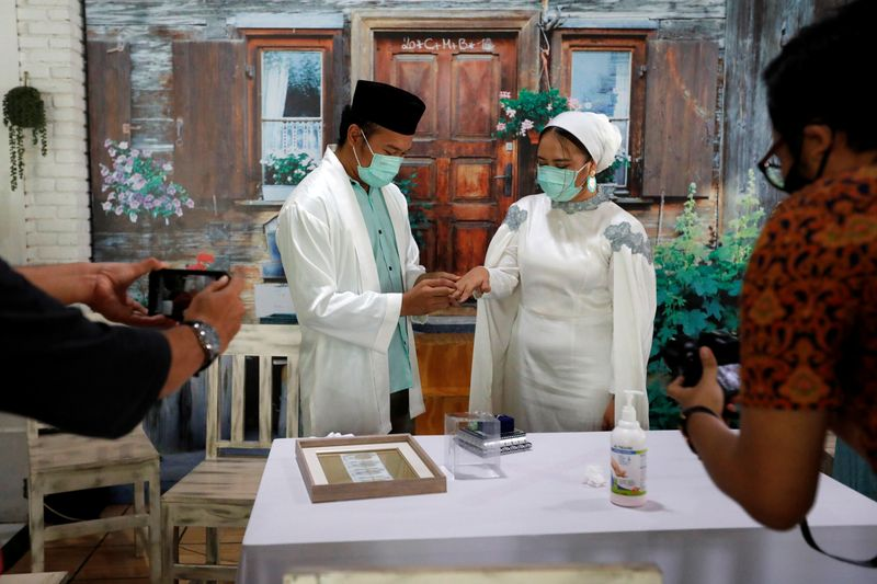 Muslim wedding ceremony amid spread of coronavirus disease (COVID-19), in Tangerang