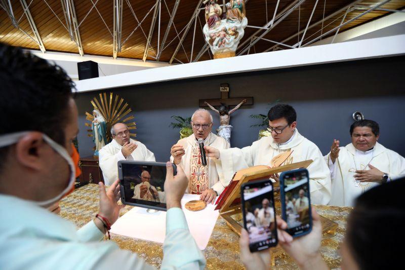 Cardinal Baltazar Porras speaks during an easter mass at a closed church as people stream it through social media due the nationwide quarantine due to coronavirus disease (COVID-19) outbreak in Caracas