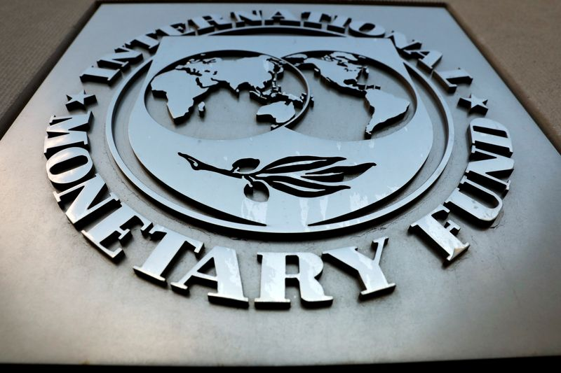 The IMF logo is seen outside the headquarters building in Washington