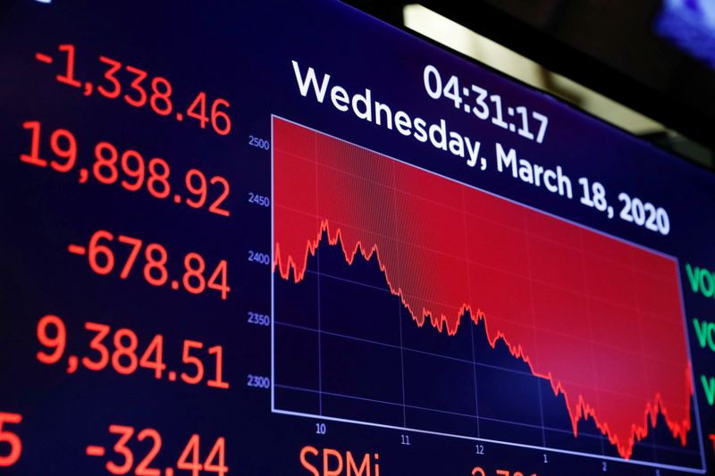 FILE PHOTO: A screen displays trading information over the floor of theNewYorkStockExchange(NYSE) inNewYork