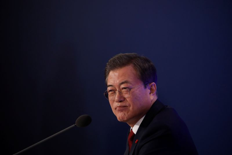 FILE PHOTO:  South Korean President Moon Jae-in speaks during his New Year press conference at the presidential Blue House in Seoul