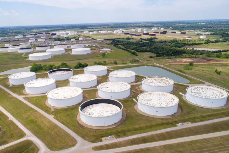 Crude oil storage tanks are seen in an aerial photograph at the Cushing oil hub