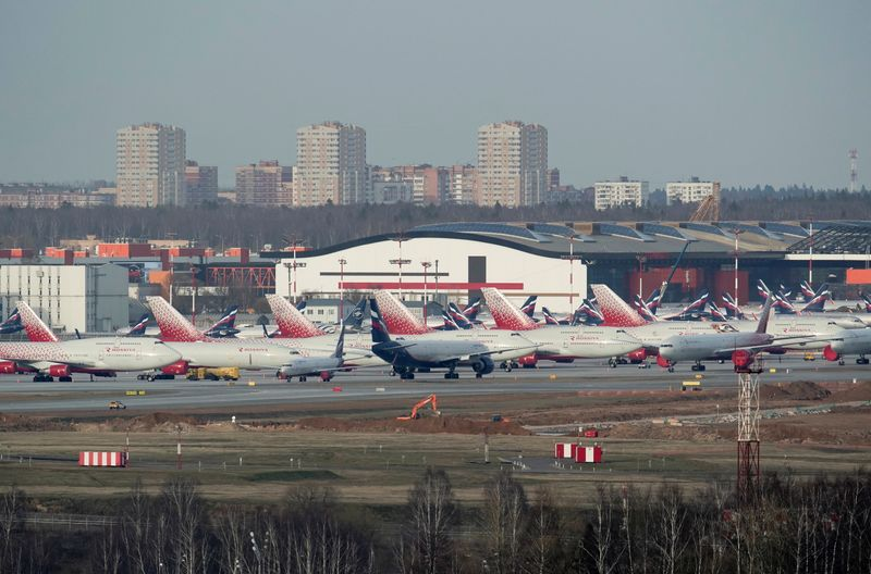 Planes are seen parked at Sheremetyevo International Airport outside Moscow
