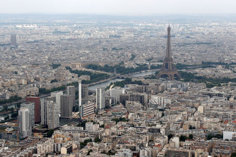 FILE PHOTO: An aerial view shows the Eiffel tower, the Seine River and the Paris skyline