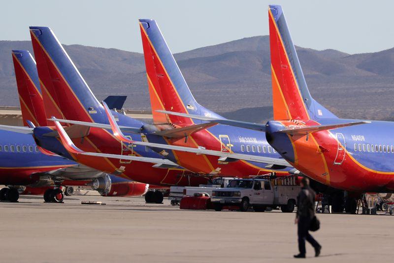 Southwest planes sit in a desert graveyard near Victorville