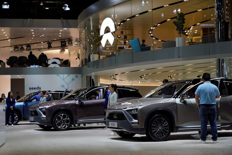 NIO ES8 electric SUVs are seen displayed at the second media day for the Shanghai auto show in Shanghai