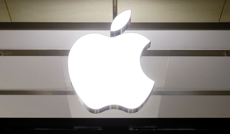 Logo of U.S. technology company Apple is seen in Basel