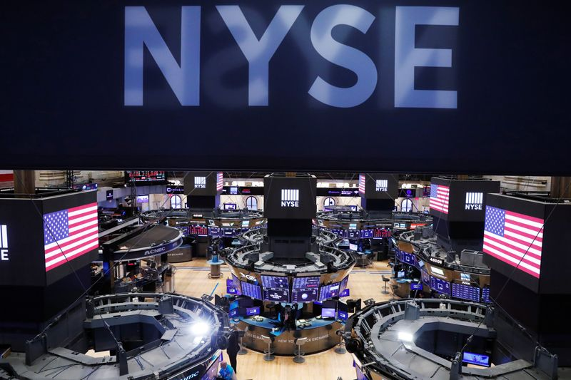 The floor of the New York Stock Exchange (NYSE) stands empty as the building prepares to close indefinitely due to the coronavirus disease (COVID-19) outbreak in New York