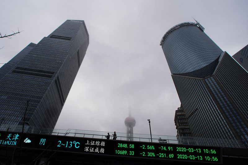 FILE PHOTO:  People are seen on a pedestrian overpass with an electronic board showing the Shanghai and Shenzhen stock indexes in Shanghai