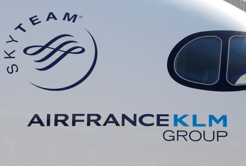 FILE PHOTO: The logo of Air France KLM Group is pictured on an Airbus A350